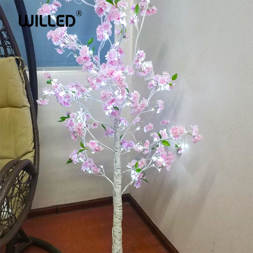 LED Light Flower Cherry Trees Festival Decorations For Home Modern Indoor Outdoor Warm White Simulation Lamp Spring