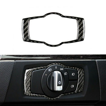 Interior Headlight Switch sticker For BMW 3 Series E90 E92 E93 2005-2012 Black Carbon Fiber Cover image
