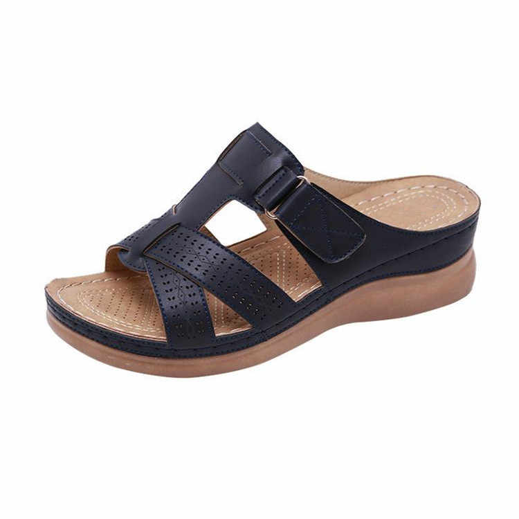 2019 New Summer Comfortable Sandals Female Sandals Car Line Wear-resistant Anti-slip Large Size Retro Wedge With Thick Bottom