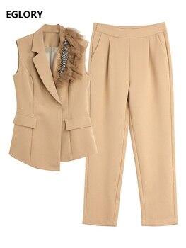 Женский элегантный деловой костюм, блейзер без рукавов с отложным воротником и бусинами, облегающие брюки и капри, лето 2020