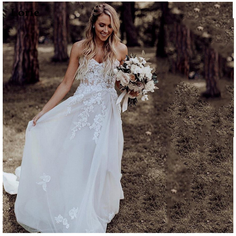 LORIE Strapless Wedding Dress 2019 A Line Lace Appliqued Bridal Dress Boho Vestidos De Novia Vintage  Backless Boho Wedding Gown