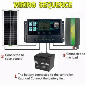 Image 3 - 220V 30W Solar Panel Battery Charger 1000W Inverter USB Kit Complete 10A Controller Solar Power System 220V Home Grid Camping