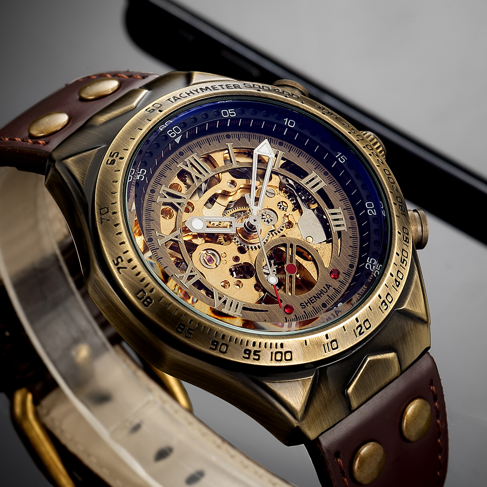 Leather Mechanical Watch Men Automatic Steampunk Watch Mens Skeleton Watches Bronze Transparent Vintage Sport Wristwatch Male 1