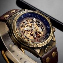 الجلود الميكانيكية ساعة الرجال التلقائي Steampunk ساعة رجالي الهيكل العظمي الساعات البرونزية شفافة خمر ساعة يد رياضية الذكور