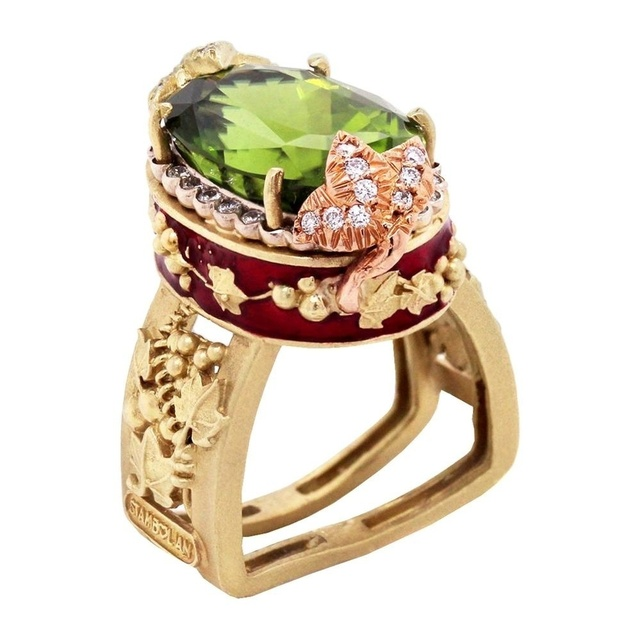 NPKDS  Luxury Gold Wreath Rose Gold Leaf Flower Leaf Large Oval Cut Peridot Ring Wedding Ring for Female Bride