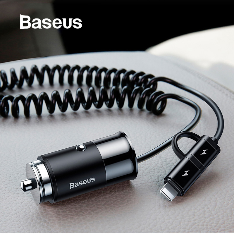 Baseus Car Charger For iPhone 11 Samsung Mobile Phone 2.4A USB Type C Car Phone Charger for Huawe Xiaomi & Spring Cable