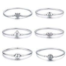 Bracelet en argent Bracelet à breloques authentique adapté à la fabrication de bijoux, Bracelet cœur de chat pour amour éternel, perles à verrouillage S925, 925 authentique