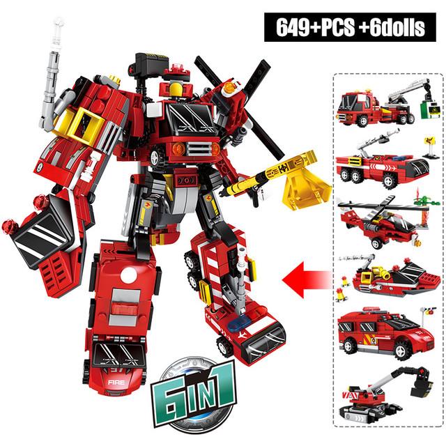 Sembo 6in1 Transformation Robot Building Block Military Tank City Police Engineering Excavator Truck Technic Car Brick Kids Toys