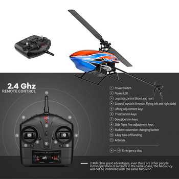 XK k127 Self Stabilizing 6-Axis Gyroscope 4CH One Key Take Off Landing Flybarless Altitude Hold RC Helicopter RTF For Kids 4