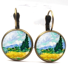Fashion Van Gogh Art Painting Series Earrings Starry Night Crystal Glass Ear Hanging Round Men and Women Summer Gifts