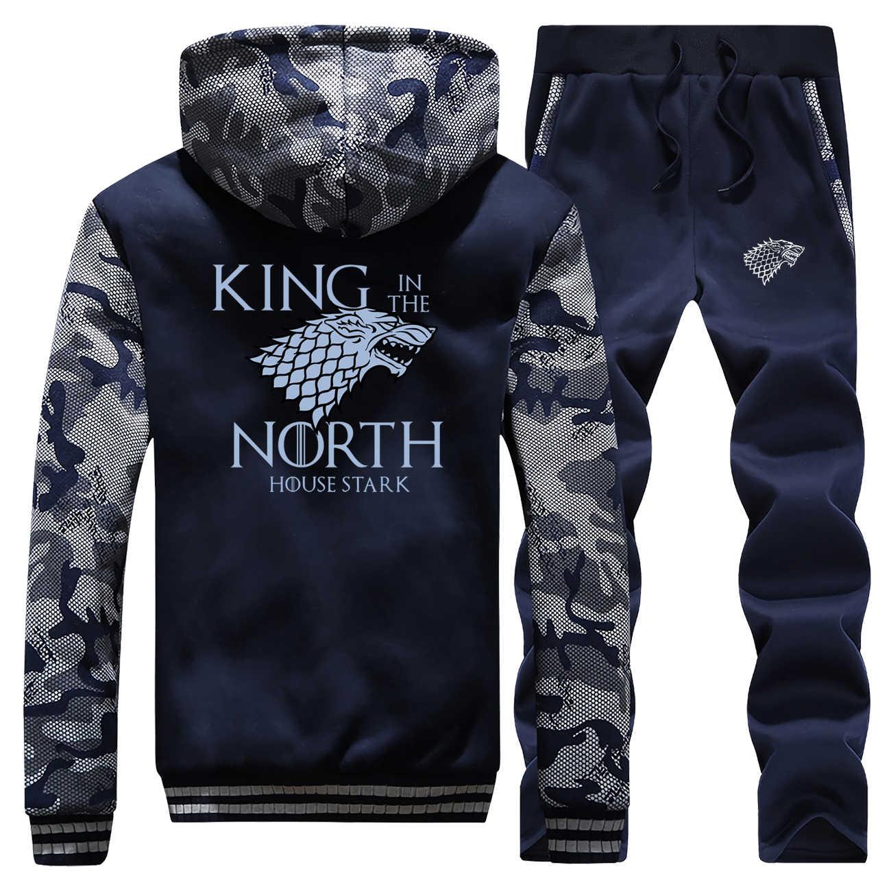 גברים Camo סטי תכנית טלוויזיה משחק של הכס מלא איש אימונית מלך בצפון מעיל צמר מקרית טרנינג חורף streetwear