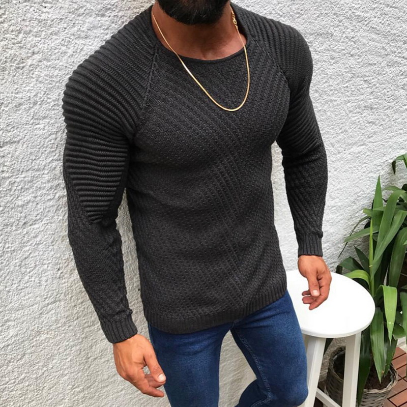 Men Fashion Knitted Pullovers 2019 New Male Solid Color O-neck Striped Long Sleeve Sweater Autumn Winter Slim Fit Casual Sweater