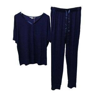 Image 4 - スリーブvネックパジャマ女性モーダル半袖ズボンツーピースルース大型ホーム服薄型パジャマ女性lenceria