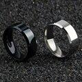 8 мм Ширина Классическая гладкая мужские кольца черный Цвет нержавеющая сталь Простые Модные кольца, ювелирные изделия для мужчин и женщин, ...