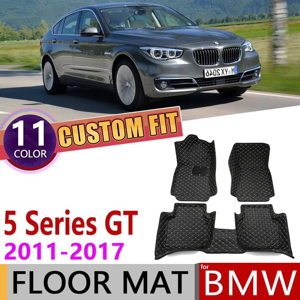 Custom Leather Car Floor Mats For BMW 5 Series Gran Turismo GT F07 2011~2017 5 Seats Foot Pad Carpet Accessories 2012 2013 2014