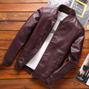 Thoshine Brand Spring Autumn Men PU Leather Jackets Buttons Thin Korean Fashion Casual Coats Outerwear Slim Fit Leather Jacket