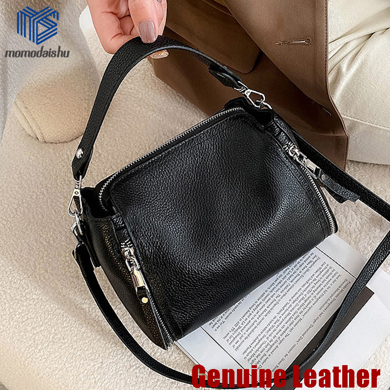 2021 New Genuine Leather Handbag Designers Women Messenger Bags Females Bucket Bag Leather Crossbody Shoulder Bag Handbag Bolsa 1