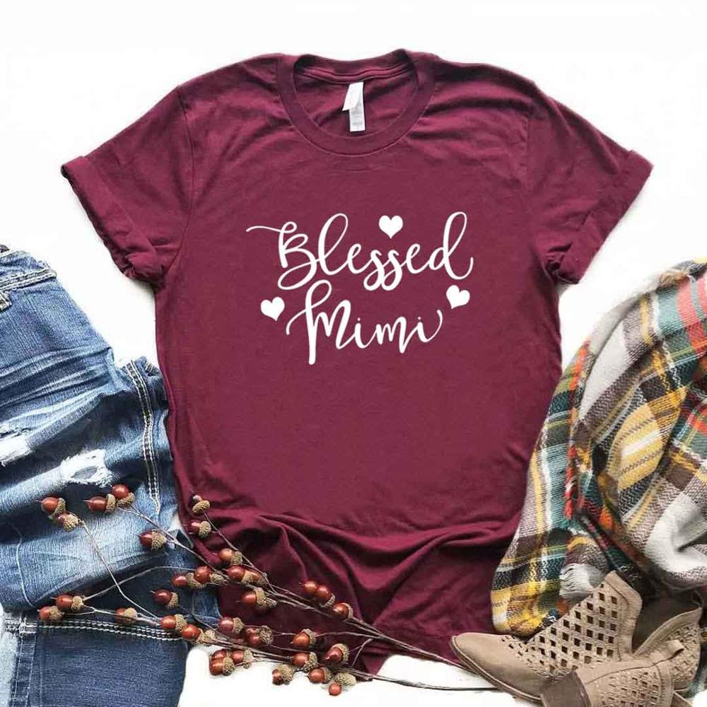 Blessed Mimi Print Women Tshirts Cotton Casual Funny T Shirt For Lady  Top Tee Hipster 6 Color Drop Ship NA-749