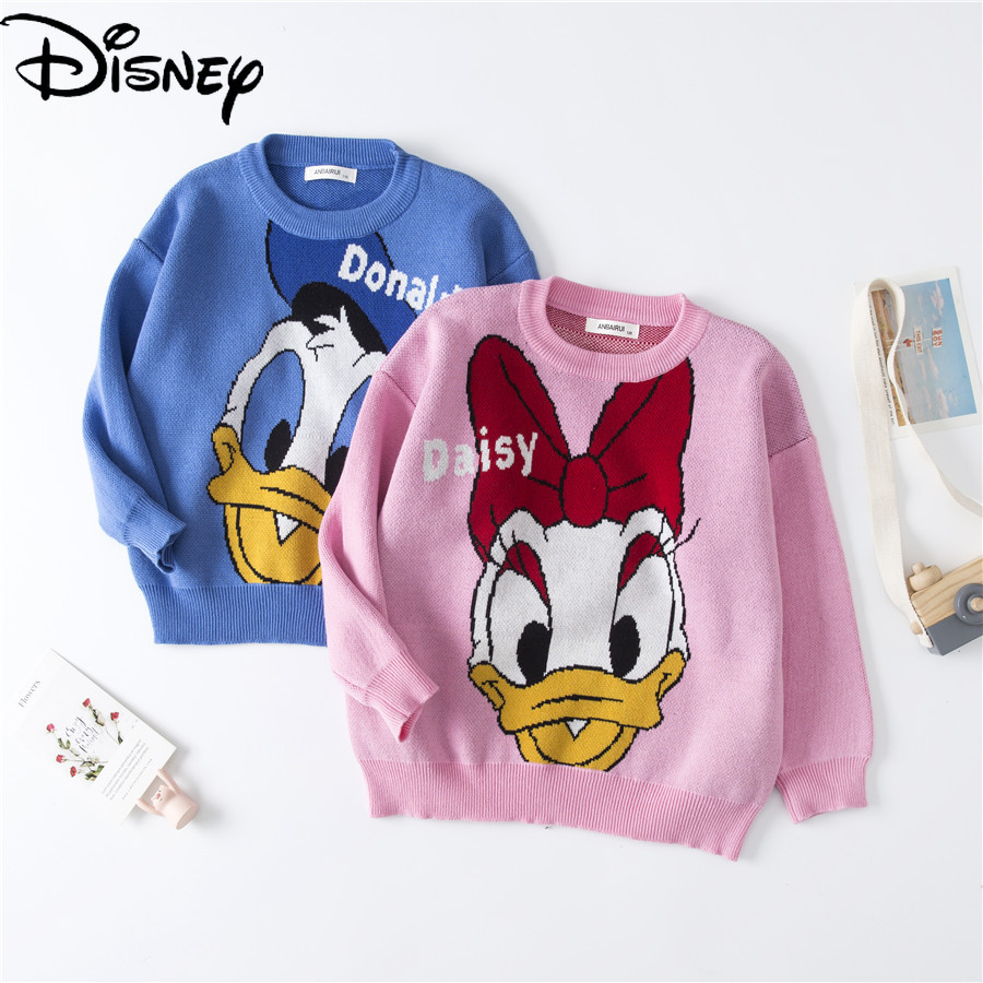 Original Disney Donald Duck Daisy Children's Long Sleeve Crew Neck Sweater Toddler Boys Sweaters Girls Winter Clothes Knitted
