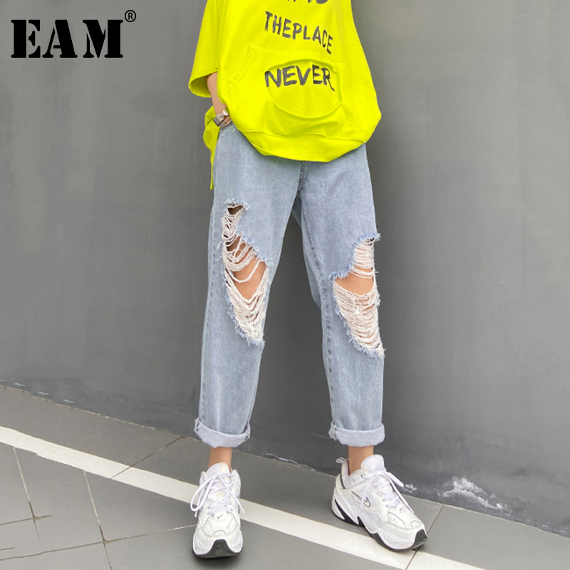 [EAM] Blue Holes Split Joint Long Wide Leg Jeans New High Waist Loose Women Trousers Fashion Tide Spring Autumn 2020 1U369