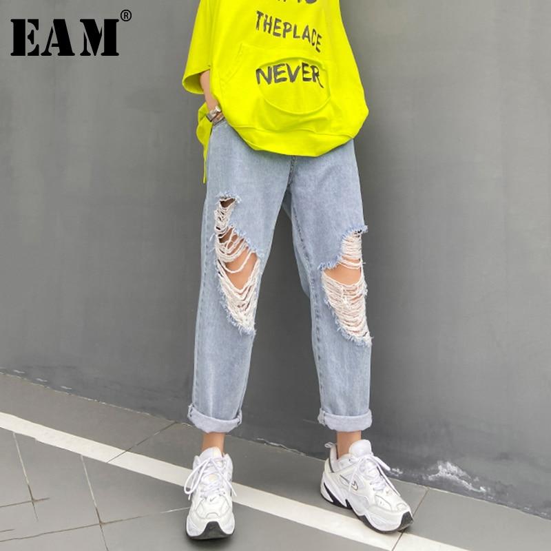 [EAM] Blue Holes Split Joint Long Wide Leg Jeans New High Waist Loose Women Trousers Fashion Tide Spring Autumn 2020 1U369