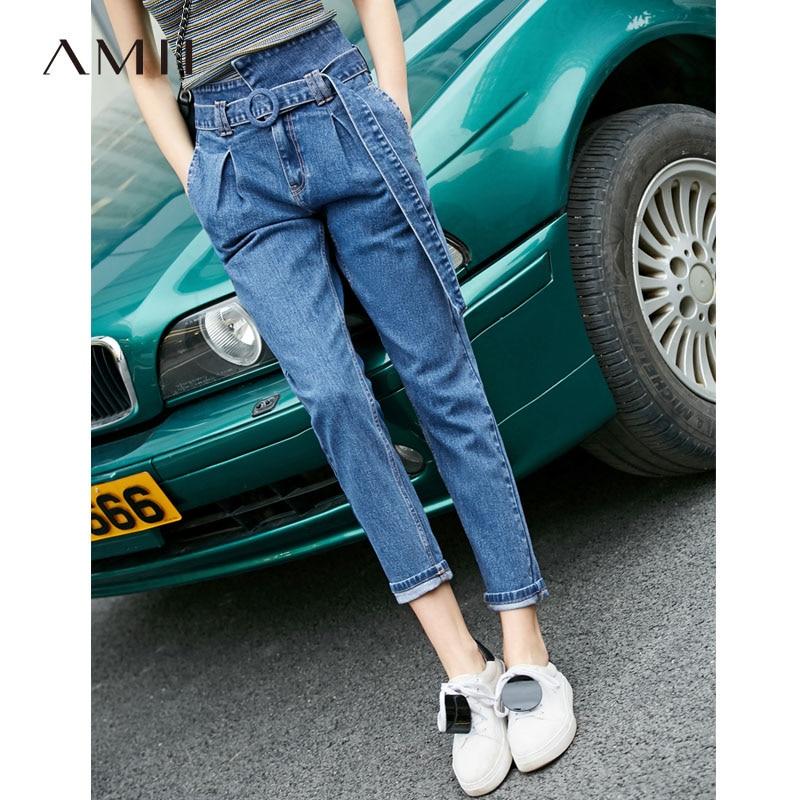 Amii Minimalism Spring Summer Causal High Waist Slim Jeans Women Belt Cropped Pants 11940293