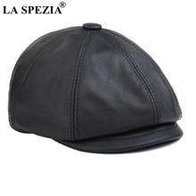 LA SPEZIA Black Newsboy Cap Men Winter Flat Hat Real Leather Cowhide Retro Thicken Warm Casual Male Octagonal