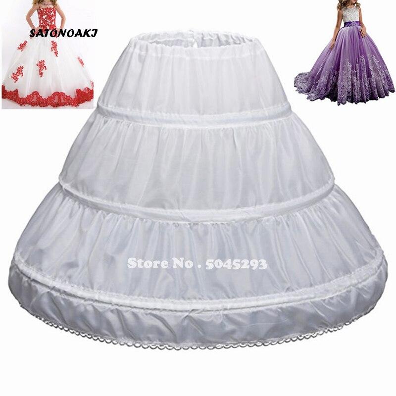 SATONOAKI 2020 Children Petticoat A-Line 3 Hoops One Layer Kids Crinoline Lace Trim Flower Girl Dress Underskirt Elastic Waist