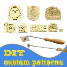 Timbre en laiton avec LOGO personnalisé, cuivre, bois, papier, pain, gâteau, moule de chauffage, lettre, timbre en métal, marque, peau en fer