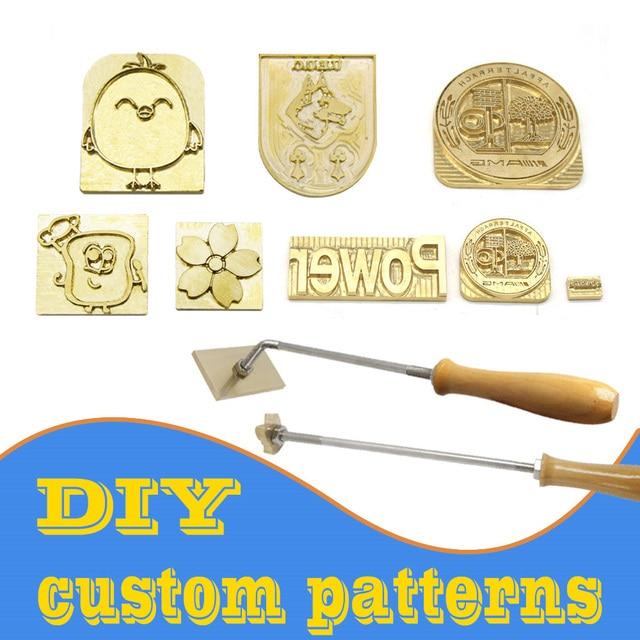 Sello de cuero con logotipo personalizado, molde de calefacción de molde de relieve con letras, sello de Metal, piel de hierro
