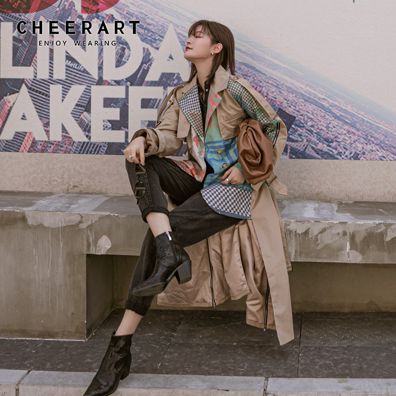 CHEERART Designer Long Trench Coat For Women Fashion Overcoat Patchwork Khaki Plaid Belt Coat Windbreaker Trench Femme