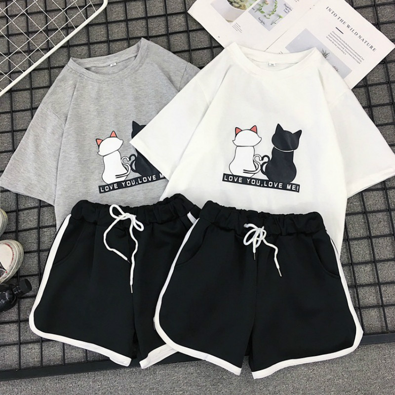 Milinsus Summer 2019 Tshirts Top And Shorts Two PCS Set Tracksuit Female Striped Beach Casual Shorts 2 Piece Outfits For Women