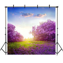 Purple Flower Tree Lavender Backdrop Natural Scenery Wedding Photo Background Blue Sky White Clouds Birthday Banner Backdrops значок swami clouds blue purple