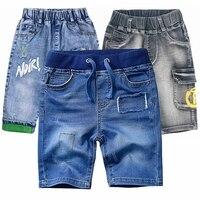 1 12T yüksek kaliteli yaz çocuklar şortları erkek Denim pantolon kot kırpılmış pantolon erkek kısa pantolon bebek giyim çocuk giysileri|Kot Pant.|   -