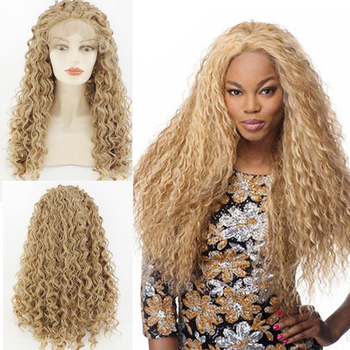 Long Blonde Curly Synthetic Wigs forBlack Women Andromeda Soft Fluffy Big Curls Hair Loose Curly AfricanAmerican Lace Front qd tizer 180% density black loose hair synthetic lace wigs long loose curly synthetic lace front wigs for black women
