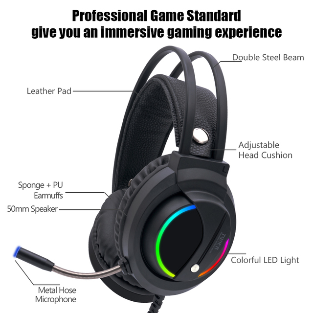 Gaming Headset Gamer 7.1 Surround Sound USB 3.5mm Wired RGB Light Game Headphones with Microphone for Tablet PC Xbox One PS4 2