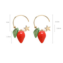 Korean Fashion Small stars Lemon strawberry Earrings sweet Personality short Fruit earrings Women summer Jewelry Accessories(China)