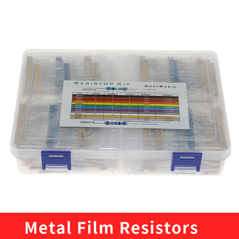 2600 pçs/caixa 130 valores 1/4w 0.25w 1% resistores de filme de metal sortidas pacote kit conjunto lote resistores sortimento kits capacitores fixos