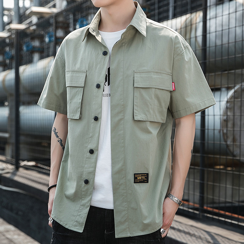Vintage Men Shirt Safari Style Casual Shirts Short Sleeve Cotton Thin 2020 Spring New Arrive