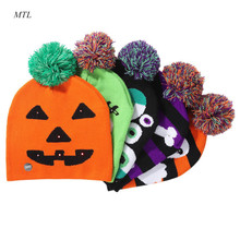 MTL Halloween party hat Thicken knitted winter warm Skullies cap beanie for kids adults