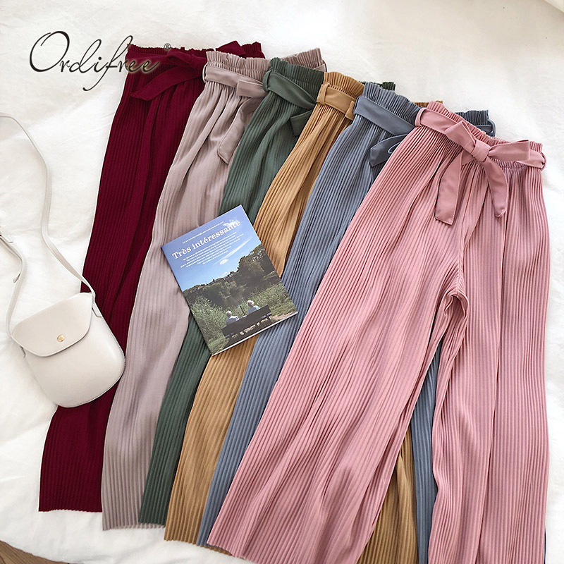 Ordifree 2019 Summer Autumn Women   Wide     Leg     Pants   High Waist Casual Trousers Bow Belted Pleated   Pant   Plain Palazzo   Pants