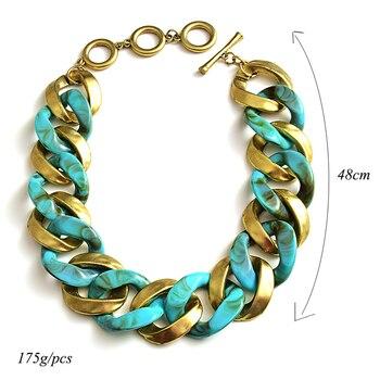 New design Matte-gold High quality Metal acrylic  Statement Fashion bracelet  6