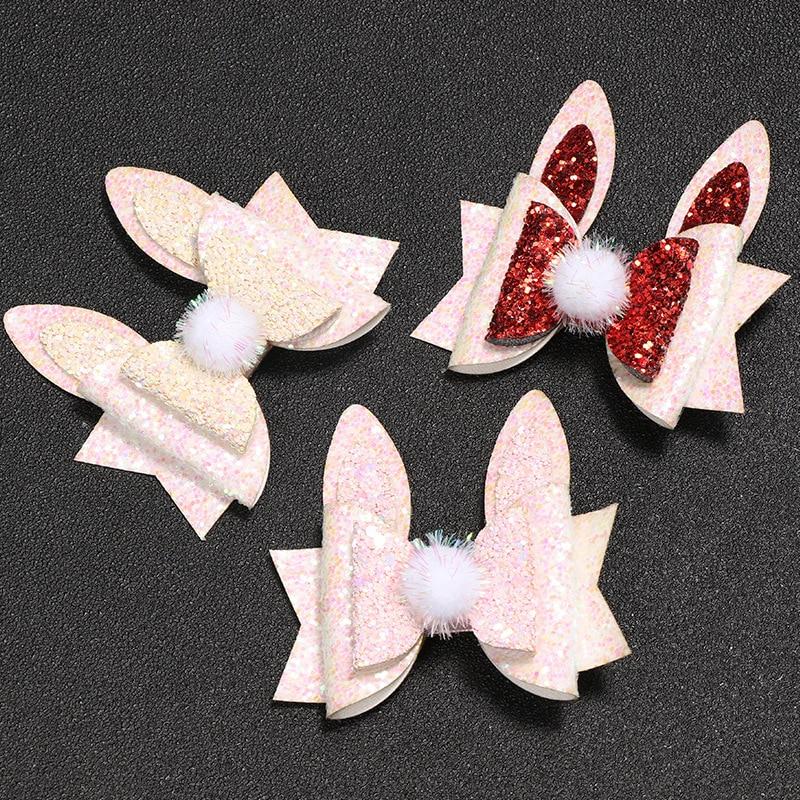 Sparkling bow Cute Baby Girls kids Bow Clips Ribbon Handmade Hair Clip Blue bow