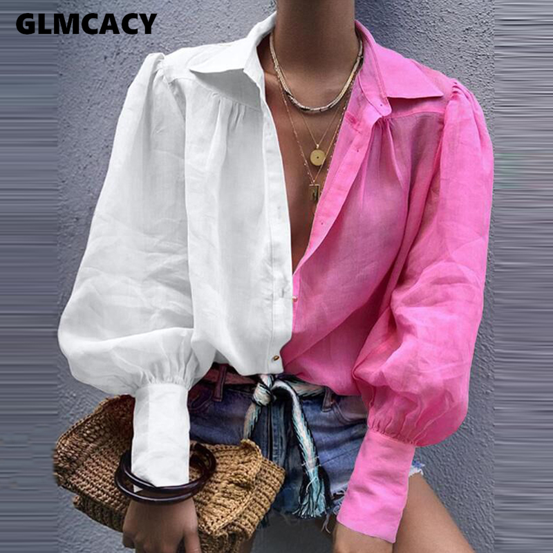 Women Elegant OL Office Casual Workwear   Blouse   Female Colorful Basic Top Solid Lantern Sleeve Casual   Shirt