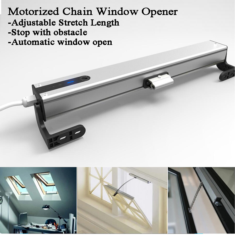 Adjustable Chain Electric Window Opener Motor DC24V AC100-240V Skylight/Greenhouse Window Switch Remote Control Home Automation