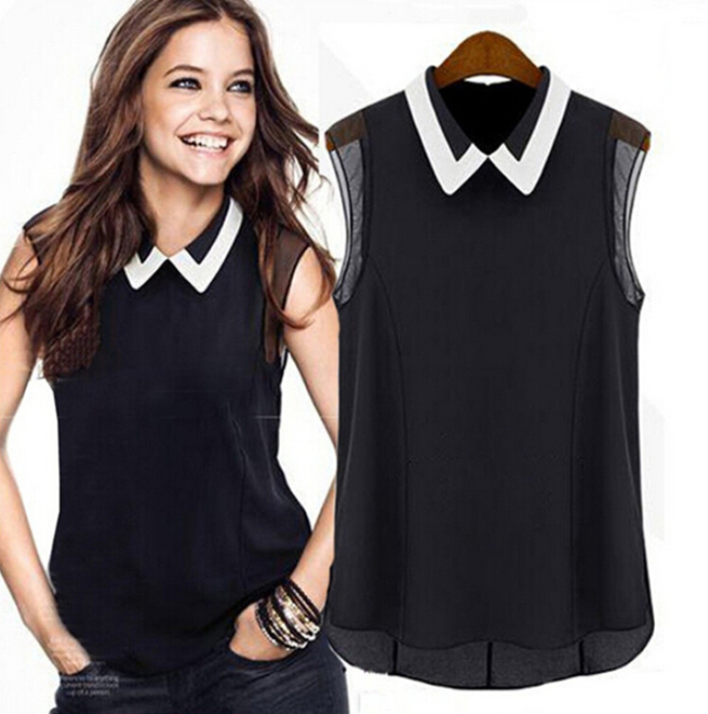 New Fashion Women Lady Girl Casual Blouse Chiffon Sleeveless Tulle Short Sleeve Blouse Solid Color Soft Design