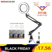 NEWACALOX 5X Лупа с подсветкой USB 3 цвета СВЕТОДИОДНЫЙ увеличительное стекло для ремонта паяльника/настольная лампа/инструмент для ухода за кожей