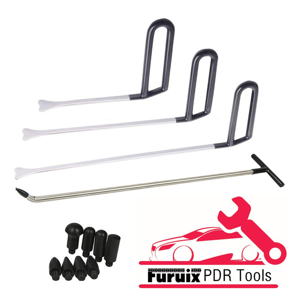 Furuix PDR Dent Removal Rods Tools Dent Repair Kit  Rod Whale Tail Tap Down With R1 Push Hooks