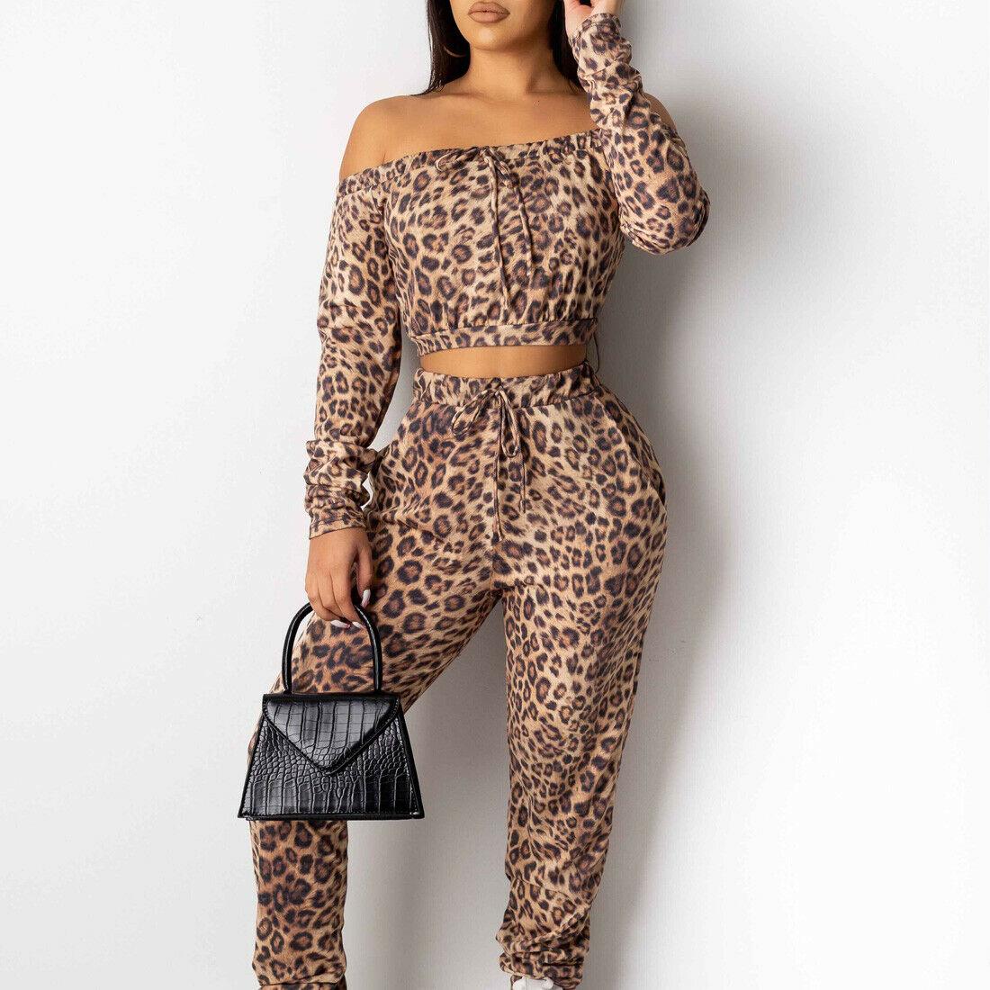 2020 Fashion Trend Women's 2PCS Leopard Tracksuit Crop Tops Long Pants Suit Fitness Long Sleeve Casual Autumn New Outfits