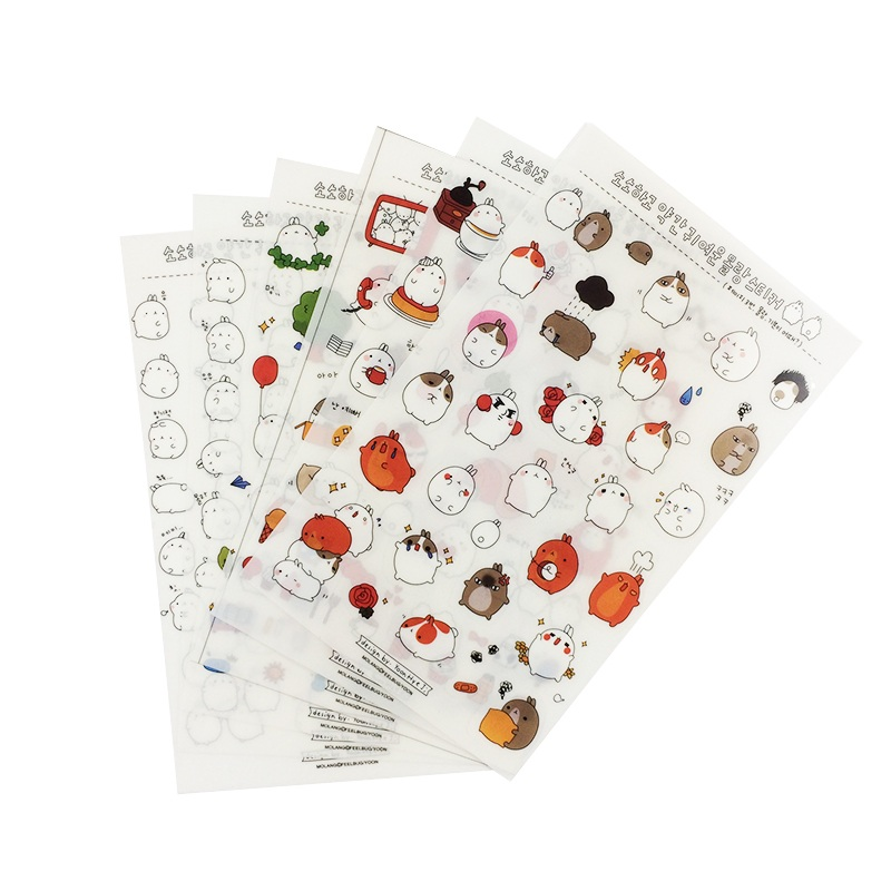 6 Pcs/lot Molang Potato Rabbit Decorative Stickers DIY Childrens Diary Cartoon PVC Sticker Set Deco Label Children Stickers